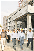 Chairperson Board of Visitors, Government Medical College Aurangabad, Rajendra Darda reviewing construction of 100-bedded Cancer Hospital, 2008