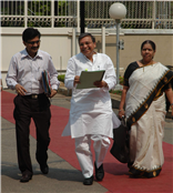 Rajendra Darda coming out from the Vidhan Bhavan after nine-hour debate on education.