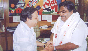 Rajendra Darda with Union Transport Minister Nitin Gadkari.