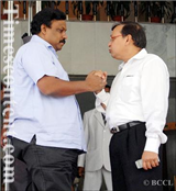 Rajendra Darda with leader of Opposition in legislative council Vinod Tawde in Mumbai 2012.