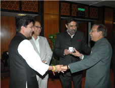 Rajendra Darda sharing a light moment with Union Commerce Minister Anand Sharma, Minister of state Jyotiraditya Scindia and Goa Chief Minister Digambar Kamat , New Delhi 2010.