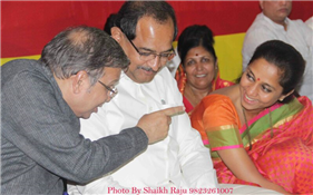 Rajendra Darda with Minister Radhakrishna Vikhe Patil and MP Supriya Sule, Aurangabad 2014