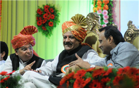 Rajendra Darda with Chief Minister Prithviraj Chavan and Deputy Chief Minister Ajit Pawar at Teacher's Day programme Kolhapur, 2013