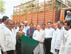 As guardian minister of Akola Rajendra Darda sending a truck containing green fodder to scarcity-hit Jalna.