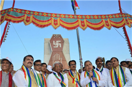 Rajendra Darda after flag hoisting at Mahaveer Stambh,  Aurangabad.