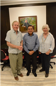 Lokmat Media Editor-in-Chief Rajendra Darda with Col. Martin Smith and his better half Margaret on their visit to Lokmat Bhavan in Aurangabad on February 25. Col Simth is the great great grandson of British Army's Captain John Smith who discovered the world-famous Ajanta caves on April 28, 1819